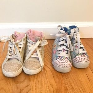 TWO PAIRS OF TODDLER GIRLS UNICORN SNEAKERS